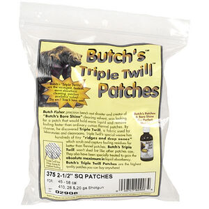 """Butch's Triple Twill Patches, .45 to .58 Caliber Rifle, 2-1/2"""" Square, 375 Patches"""