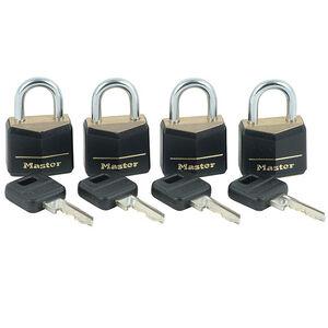 Master Lock No. 121Q Covered Solid Body Padlocks, 4 Pack, Keyed Alike 121Q