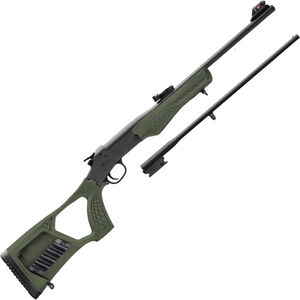 """Rossi Matched Pair Youth .22 LR/.410 Bore Single Shot Rifle/Shotgun Combo 22"""" Barrel OD Green Synthetic Stock Black Finish"""