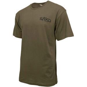 Sako/Beretta Old Skool Short Sleeve T-Shirt Large Retro Sako Logo Cotton Army Green